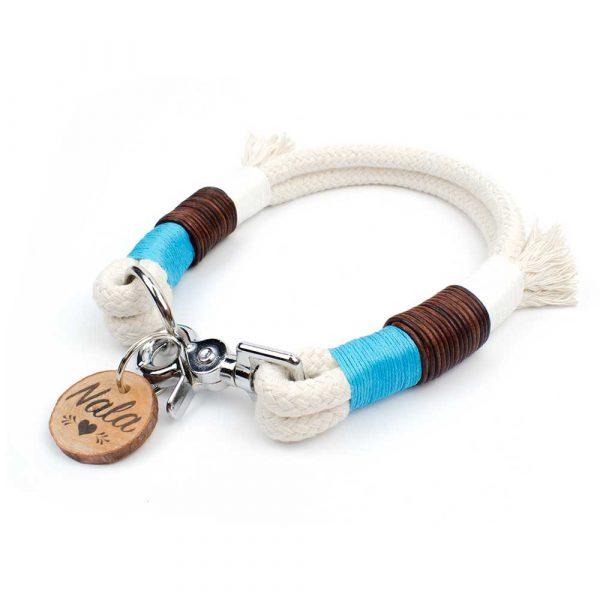 Halsband Tau Türkis Weiß