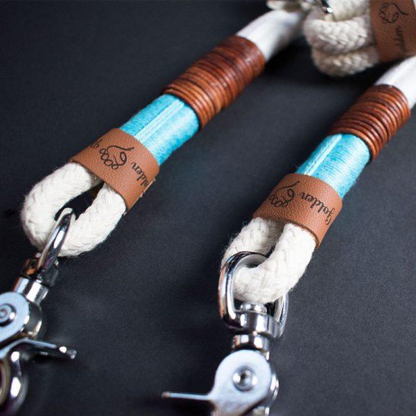 Hundeleinen Halsband Set aus Tauwerk Türkis