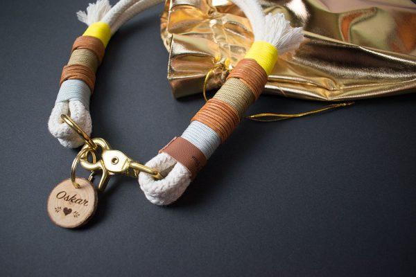 Tauwerk Halsband mit Leder und Gelb