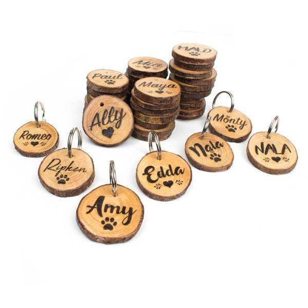 Holz Hundemarke mit Gravur