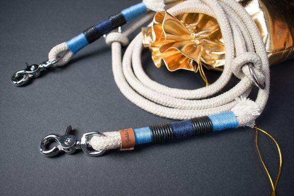 Hundeleine Halsband Set Tauwerk Blau