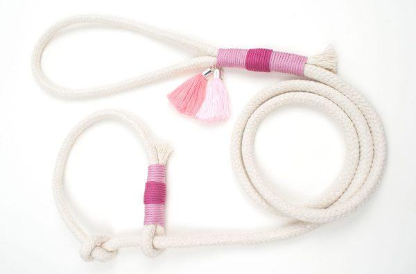 Tauwerk Retrieverleine pink und rosa