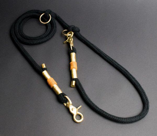 Hundeleine Halsband Gold Schwarz