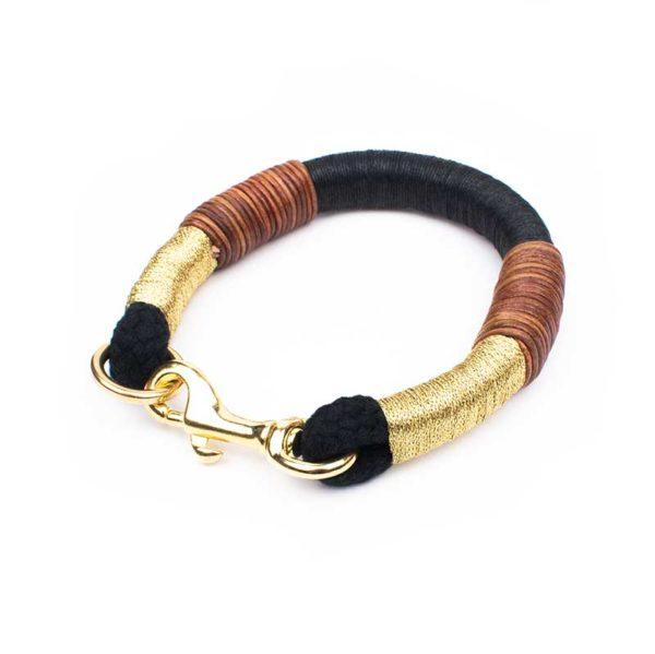 Halsband Gold Schwarz kleine Hunde