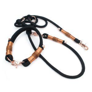 Hundeleine Halsband Set Roségold
