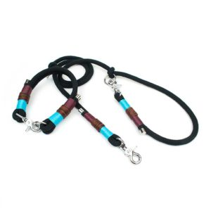 Schwarzes Tau Halsband mit Endkappen
