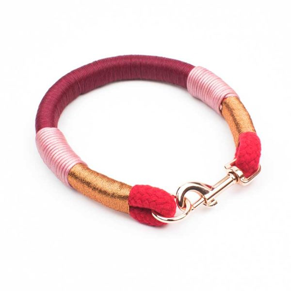 Rosegold Tau Halsband in Bordeaux Rot
