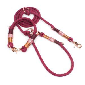 Hundeleine inkl. Halsband in Bordeaux Rot mit Rosegold Karabiner