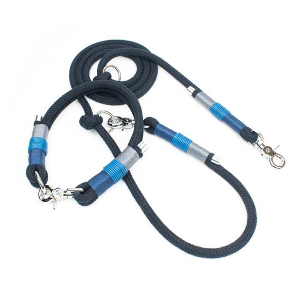 Blaues Halsband inkl. Leine für kleine und große Hunde