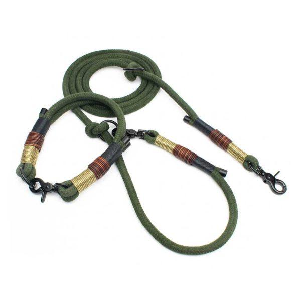 Hundeleine und Halsband in Olive Schwarz